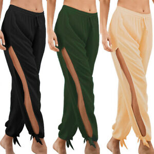 a7a6afe507 Women's Side Slit Elastic Wide Leg Casual Baggy Pants Summer Beach ...