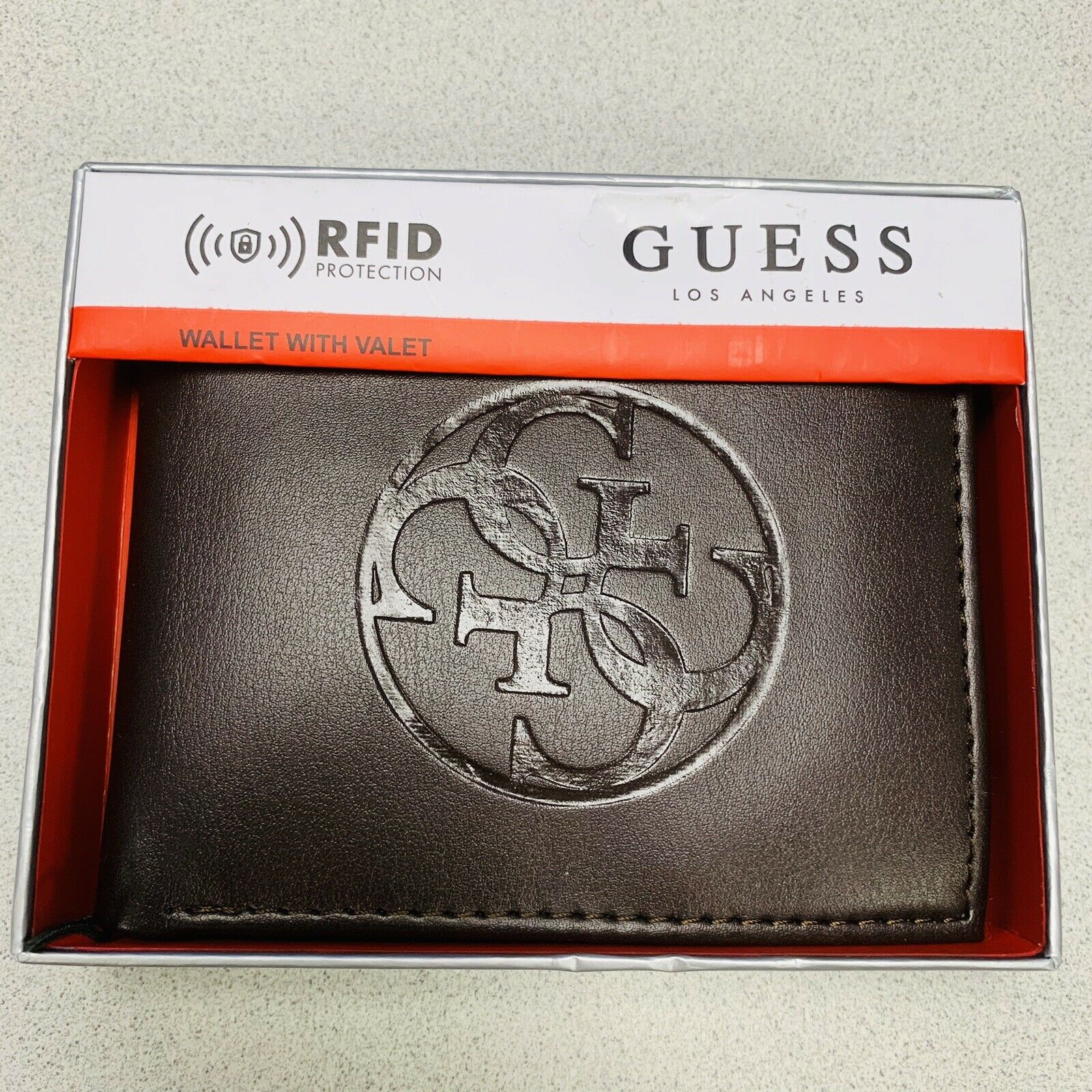 Guess Men's Billfold Brown Wallet New With Box