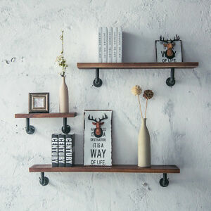 Image Is Loading Vintage Industrial Pipe Wooden Metal Wall Floating Shelf