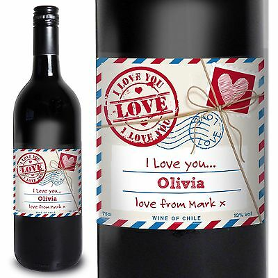 Personalised Love Letter Red Wine - Christmas Anniversary, - Gift For Couples