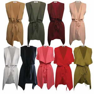 New-Women-039-s-Ladies-Celebrity-Sleeveless-Waterfall-Cape-Cardigan-Jacket-Coat-Top