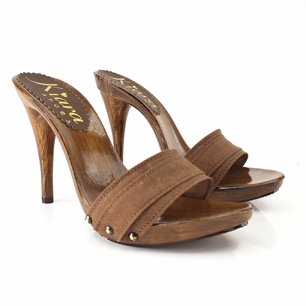 Clogs Braun heel 11 cm - Made in  35 al 42-KM7101 Braun