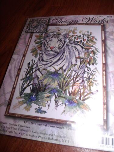 "Design Works WHITE TIGER in JUNGLE  Counted Cross Stitch Kit  15/"" x 20/"""