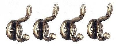 S3093 Dollhouse Miniature Metal Set of 4 Unmounted Coat Hooks