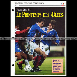 #033.12 Match France-chili 1994 Photo : Ginola & Didier Deschamps Fiche Football