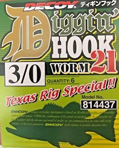 Decoy Worm 21 Diggin Hook Texas Rig Special Hooks Size 4//0 4444