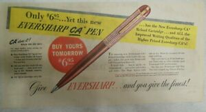 Eversharp Red Top Lead Ad: Eversharp CA Pen ! from 1940's Size: 7 x 15 inches