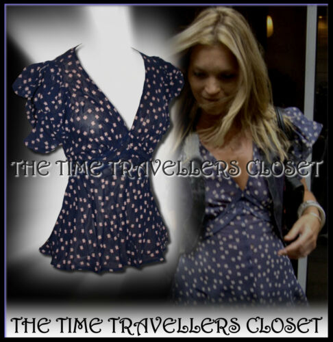 KATE MOSS TOPSHOP NAVY BLUE BEIGE CLOVER DITSY WW2 40s LANDGIRL TEA BLOUSE UK 10