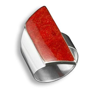Hell 925er Silber Designer Ring Koralle Grösse Verstellbar Top Handarbeit Sr022 Knitterfestigkeit Ringe
