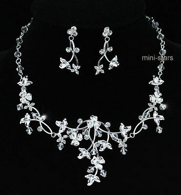 Bridal Wedding Handmade Crystal Silver Plated Necklace Earrings Set S1210