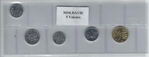 Moldavie Série De 5 Pièces De Monnaie Lustre Brillant