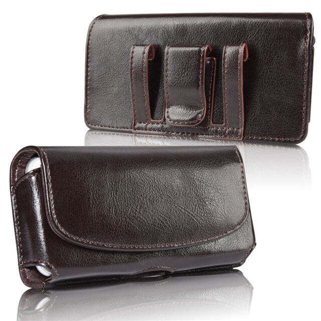 on sale 08610 4370d Horizontal Men's Genuine Leather Cell Phone Pouch Case Cover Belt Loop  Holder