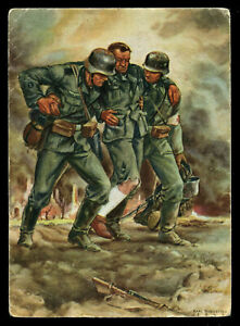 WW2-WWII-Germany-3rd-Reich-Postcard-German-Hitler-Wehrmacht-Soldier-Feldpost-PC