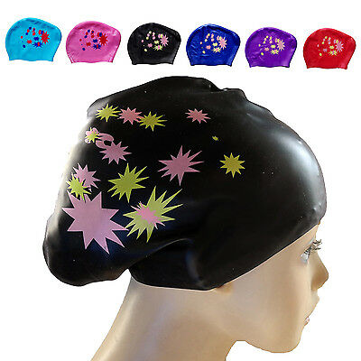 Newly Waterproof Silicone Swim Cap Hat For Ladies Women Long Hair With Ear Cup