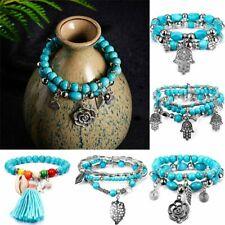 Hot Fashion Tibetan Silver Red Beads Bangle Turquoise Chain Bracelets S07