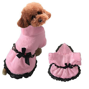 Cute Pet Dog Puppy Hoodie Clothes Coat Winter Warm Apparel Dress Costume Pink