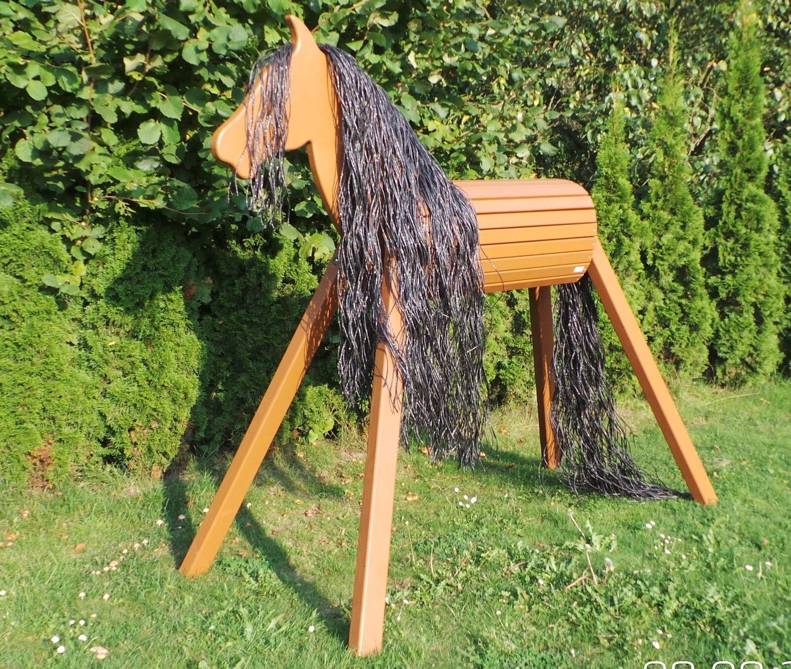Holzpferd Voltigierpferd Holzpony Pferd Braun 120 cm Garantie