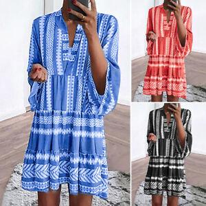 VONDA-Women-Dolman-Sleeve-Ruffle-Oversize-Stripe-Mini-Shirt-Dress-Short-Sundress