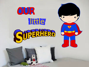 Image Is Loading Our Little Superhero Wall Art Stickers Decals Super
