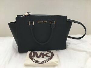 Details about Authentic MICHAEL KORS SELMA Large SATCHEL SAFFIANO LEATHER BAG BLACK