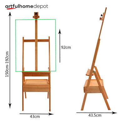 Ahd School Art Supply Portable Artist Studio Wood H-frame Easel Drawer Paint Box