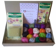 Clover Tools Needle Felting Kit B - small mat, tool, wool + needles