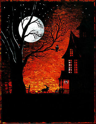 8x10 HALLOWEEN print of  PAINTING RYTA WITCH BLACK CAT FOLK VINTAGE STYLE OWL