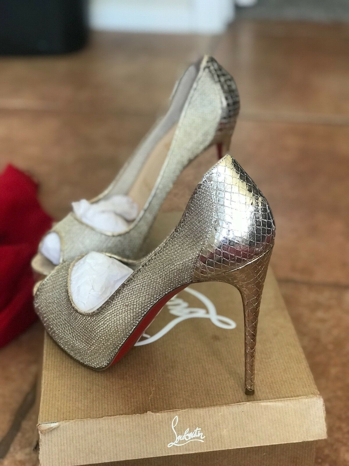 newest collection a3e3a fe09c Christian Louboutin very rete 120 metal filet lame sirene ...