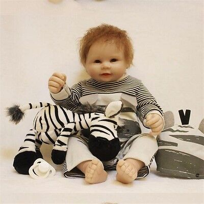 "22/"" Full Body Floppy Silicone Reborn Doll Baby Boy Lifelike Vinyl Doll Newborn"