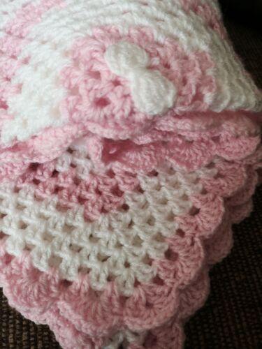 Handmade Crocheted baby Blanket in rose  pink//white