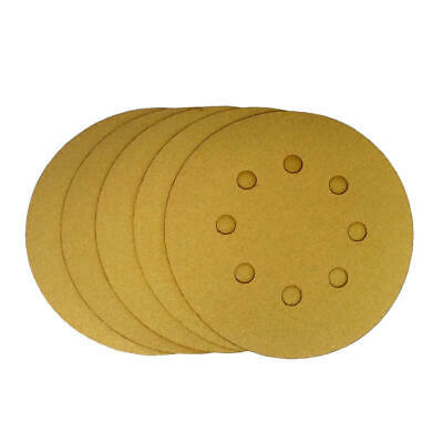 "Premium Gold Gold 5/"" Sanding Discs 8 Hole Hook /& Loop 400 Grit 50 Discs per Box"
