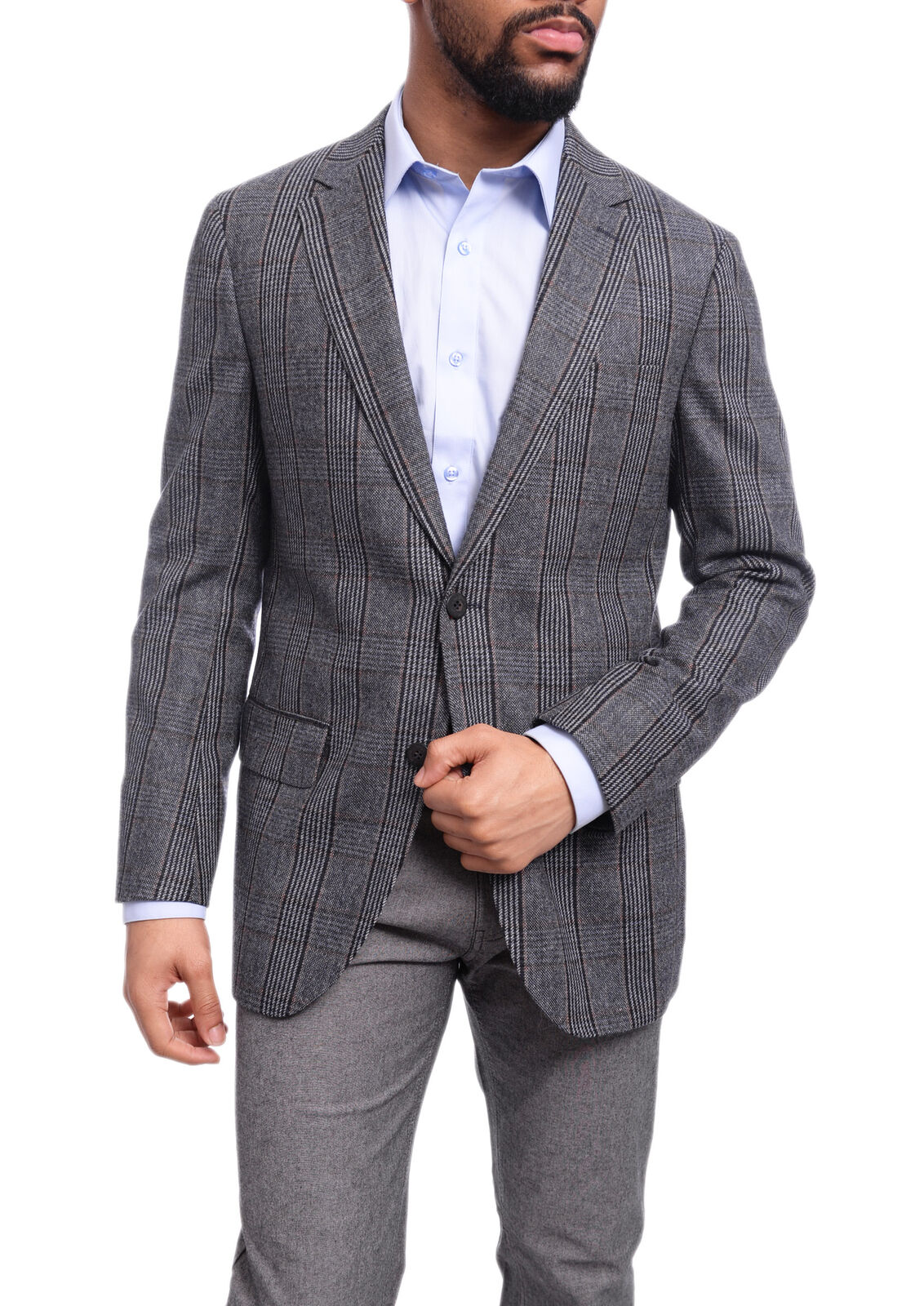 222c6df0d09e9d Mens 43R Napoli Classic Fit Blau Plaid Two Button Half Canvassed Wool  Cahsmer.