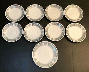 Vintage-Dianbai-Porcelain-Dinnerware-Cup-Saucers-Fine-China-Lot-Of-9