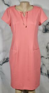 TALBOTS Coral Pink Short Sleeve Dress 10 Notch Neckline Unlined Rayon Blend