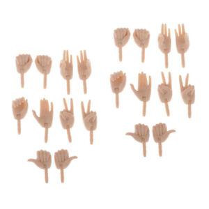 10-Coppie-Di-Mani-Flessibili-In-Plastica-Da-1-6-Bambole-Per-La-Pelle-Normale