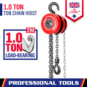 1 Ton Block and Tackle 2M Chain Block Hoist Crane Pulley Garage Lifting Tool New