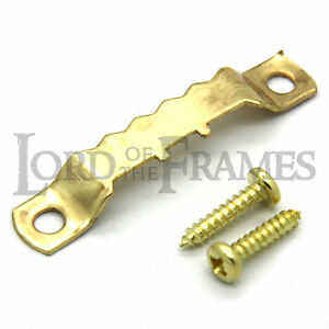 10 X 45mm Brass Saw Tooth Alligator Hangers Screws Picture Frame