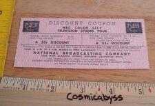 1970 NBC TV Studio Tour Discount Coupon VINTAGE