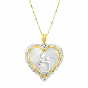 Mother-amp-Child-Natural-Mother-of-Pearl-Heart-Pendant-in-10K-Gold