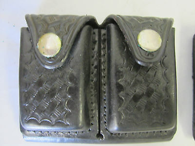 "Safety Speed Holster Dual Ammo Dump / Strip Pouch 4.5""Wx 3.75""H Leather Basket"