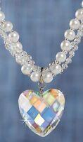 Aurora Borealis Crystal Heart Rhinestone Necklace Pearls Reg $40