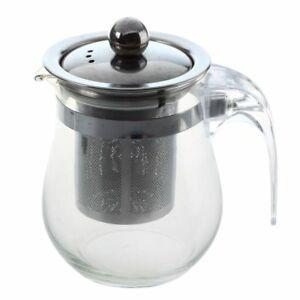 350mL-Heat-resistant-Clear-Glass-Teapot-Stainless-Steel-Infuser-Flower-Tea-O5Q5