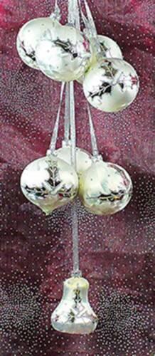 Glas Kugelgehänge Eislack Silber Lorbeerblatt Lauscha Weihnachtsdeko Glas 50 cm