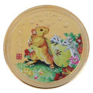 2020-Jahr-der-Ratten-Gedenkmuenze-Vergoldete-Herausforderungsmuenze-Souvenxj