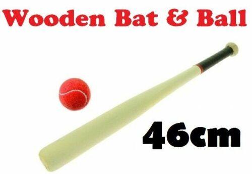 """45cm 18/"""" Wooden Rounders Baseball Bat /& Soft Tennis Ball Garden Fun Play Set"""