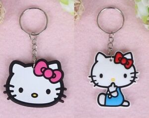 Hello-Kitty-2Pc-Rubber-Soft-Silicone-Key-Chain-Set-1-Pair