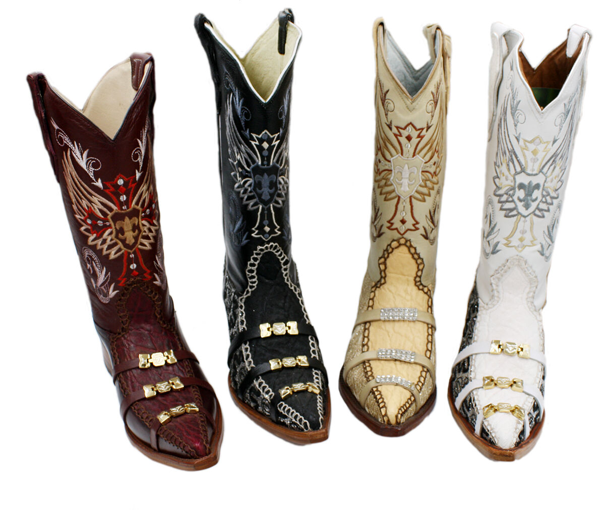 Uomo Genuine Leather Cowboy Boots With Design Style 6001