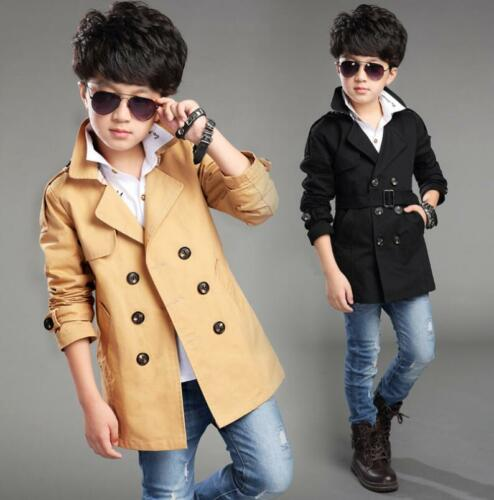 Fashion Kids boys Double Breasted Belted Jacket Military Long Trench Coat Parka