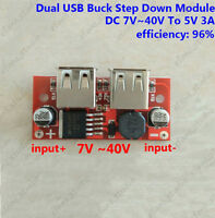 DC-DC Buck Converter Voltage Step Down Dual USB Charger Module 7V~40V to 5V 3A