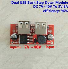 DC-DC Voltage Converter 7~40V 12V 24v to 5V 3A Step Down Dual USBLadegerätModule